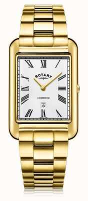 Rotary El | caballero pulsera chapada en oro | esfera blanca | GB05283/01