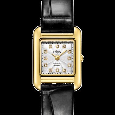 Rotary | correa de cuero negro damas | caja de oro | LS05288/70/D