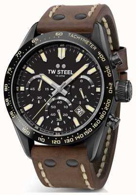TW Steel | correa de cuero marrón caballeros | cronógrafo negro | CHS1