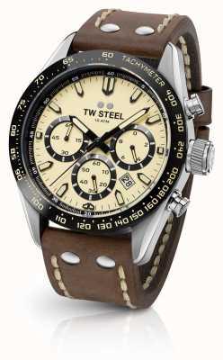 TW Steel | correa de cuero marrón caballeros | cronógrafo crema | CHS2