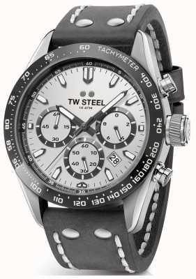 TW Steel | correa de cuero gris oscuro para hombre | esfera plateada | CHS3