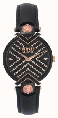 Versus Versace | correa de cuero negro damas | esfera estampada | VSPLH1519