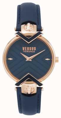 Versus Versace | Correa de piel azul para mujer con oro rosa | VSPLH0419