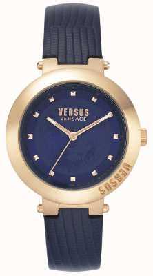 Versus Versace El | correa de cuero azul para damas | caja de oro rosa | VSPLJ0419