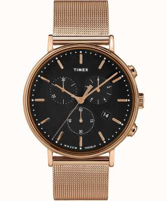 Timex | Fairfield Chrono esfera negra | caja en tono rosa dorado | TW2T37100D7PF