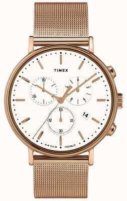 Timex | Fairfield Chrono esfera blanca | caja en tono rosa dorado | TW2T37200D7PF