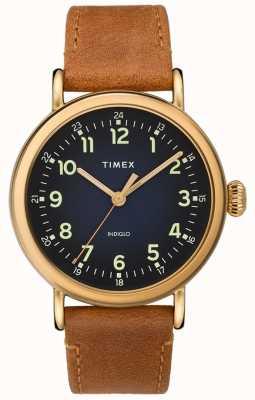 Timex | correa de piel de caballero color marrón | esfera azul | TW2T20000D7PF