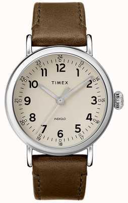 Timex | correa de cuero de oliva para hombre | esfera gris | TW2T20100D7PF