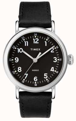 Timex | correa de cuero negro para hombre | esfera negra | TW2T20200D7PF