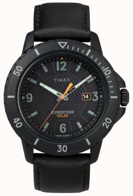 Timex | piel negra de galatina solar | esfera negra | TW4B14700D7PF