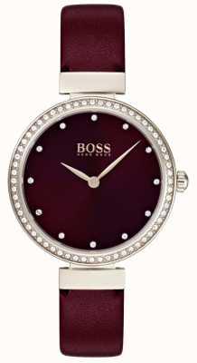 Boss | correa de cuero burdeos para mujer | 1502481