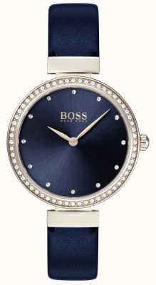 Boss | correa de cuero azul para mujer | esfera azul | 1502477