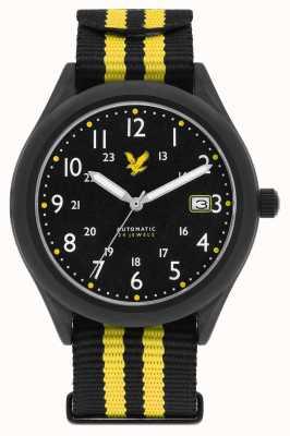 Lyle & Scott Correa para hombre automática sigilo negro amarillo negro de la OTAN esfera negra LS-6006-01