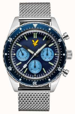 Lyle & Scott Mens highland pulsera de malla de acero inoxidable esfera azul LS-6011-22