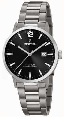 Festina | reloj de titanio para hombre | esfera negra | pulsera de titanio | F20435/3