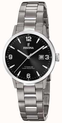 Festina | reloj de titanio para mujer | esfera negra | pulsera de titanio | F20436/3