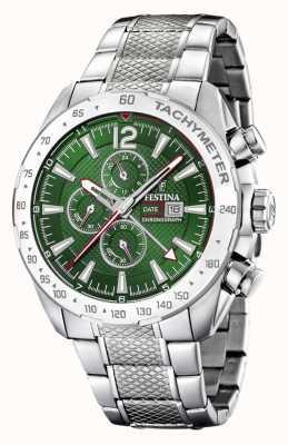 Festina | cronógrafo y hora dual para hombre | esfera verde | pulsera de acero F20439/3