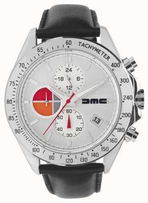 DeLorean Motor Company Watches Cuero plata 1981 | esfera plateada | cuero negro | DMC-7