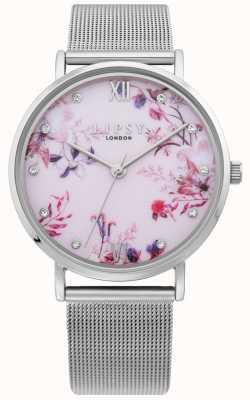 Lipsy | pulsera de malla de plata para mujer | esfera floral rosa pálido | LP643