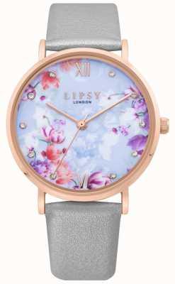 Lipsy | correa de cuero gris para mujer | esfera floral azul pálido | LP657