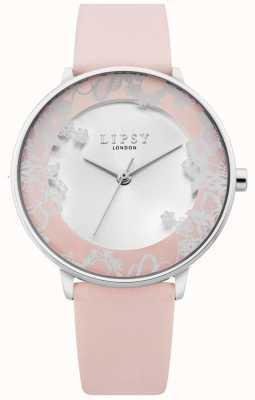 Lipsy | correa de cuero rosa para mujer | esfera de plata de rayos solares | LP658