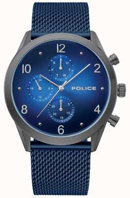 Police | maletín para hombre azul dial multi | pulsera de malla azul | 15922JSU/03MM
