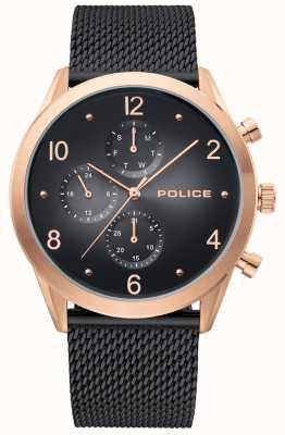 Police | caja de oro rosa para hombre | correa de malla negra | multi-dial negro 15922JSR/02MMB