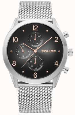 Police | correa de malla de plata para hombre | multi-dial negro | 15922JS/02MM