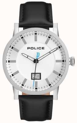 Police | reloj collin para hombre | correa de cuero negro | esfera plateada | 15404JS/01