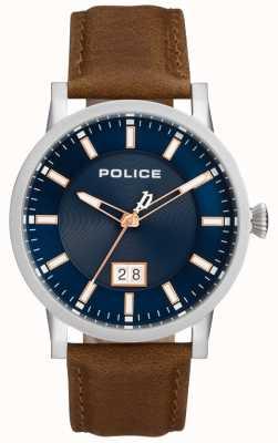 Police | reloj collin para hombre | correa de cuero marron | esfera azul | 15404JS/03