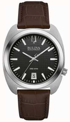 Bulova Esfera negra para hombre cuero marrón 96B253