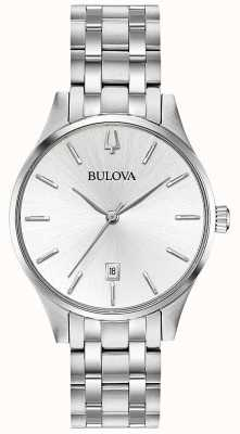 Bulova Fecha de dial de acero inoxidable de plata para mujer 96M148