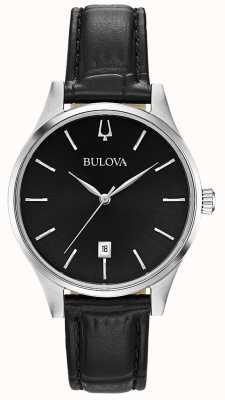 Bulova Indicador de fecha de cuero negro para mujer 96M147