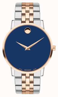 Movado Reloj para hombre de dos tonos de acero inoxidable con esfera azul. 0607267