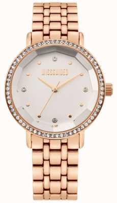 Missguided El | pulsera de acero inoxidable para mujer en oro rosa | esfera blanca | MG021RGM