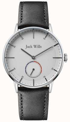 Jack Wills | mens batson ii | correa de cuero negro | esfera blanca | JW002SLBK