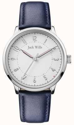 Jack Wills | knowle para mujer | correa de cuero azul | esfera blanca | JW017WHNV