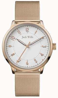 Jack Wills | knowle para mujer | malla de oro rosa | esfera blanca | JW017WHRS