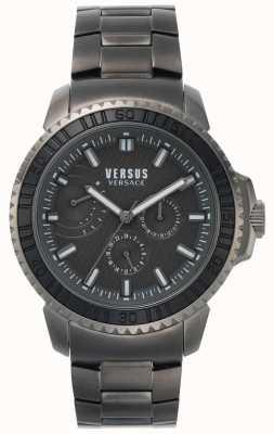 Versus Versace   aberdeen para hombre   esfera negra   pulsera de acero inoxidable gris VSPLO0819