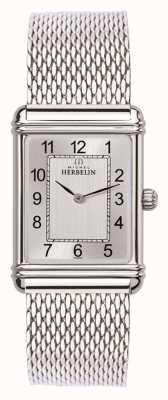 Michel Herbelin Mens esprit art deco acero inoxidable malla plata dial 17468/22BM