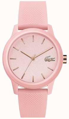 Lacoste 12.12 mujeres | correa de silicona rosa | esfera rosa | 2001065