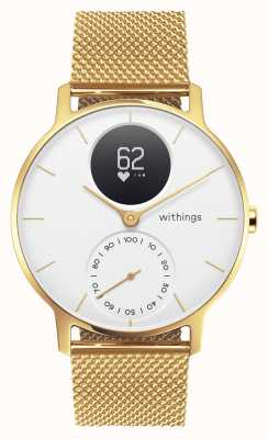 Withings Steel hr 36mm edición limitada de oro milanesa (+ correa de goma) HWA03B-36WHT-GOLD-MESH GOLD-ALL-INT