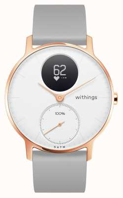 Withings Pulsera de silicona gris acero esfera 36 mm oro rosa blanco HWA03B-36WHITE-RG-S.GREY-ALL-INTER