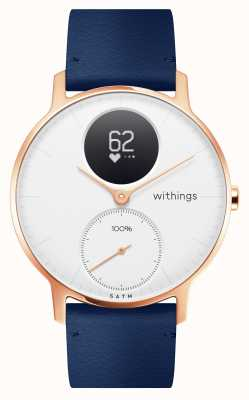 Withings Acero hr 36 mm rosa dorado azul cuero (+ correa de silicona gris) HWA03B-36WHITE-RG-L.BLUE-ALL-INTER