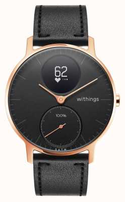 Withings Acero hr 36 mm rosa dorado cuero negro (+ banda de silicona negra) HWA03B-36BLACK-RG-L.BLACK-ALL-INTER
