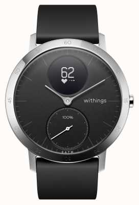 Withings Correa de silicona negra de acero hr 40 mm HWA03-40BLACK-ALL-INTER