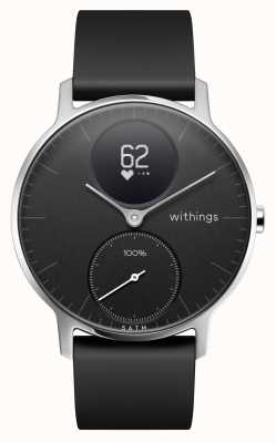 Withings Correa de silicona negra de acero hr 36 mm HWA03B-36BLACK-ALL-INTER