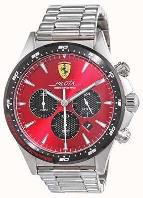 Scuderia Ferrari | mens pilota | pulsera de acero inoxidable | esfera roja | 0830619