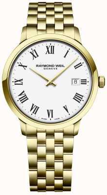 Raymond Weil | toccata para hombre | pulsera de oro de acero inoxidable | esfera blanca 5485-P-00300