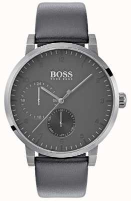 Hugo Boss Correa de cuero gris oxigenada para hombre esfera gris 1513595